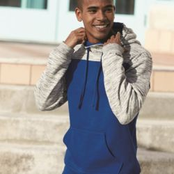 8676 Mélange Fleece Colorblocked Hooded Sweatshirt Thumbnail